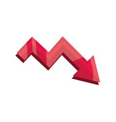Declining arrow stock market crash isolated icon vector