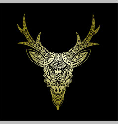 Deer icon golden deer mandalas vector