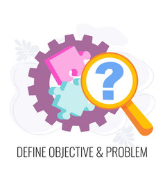define objective and problem icon market research vector image