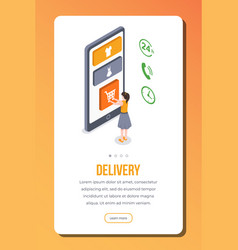 Delivery isometric app page template vector