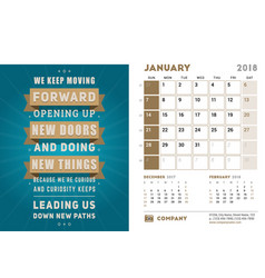 Desk calendar template for 2018 year january vector