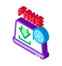Downloading fake video isometric icon vector