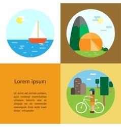 Eco-tourism camping cycling sailing vector