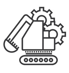 excavator line icon sign on vector image