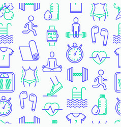 Fitness seamless pattern with thin line icons vector
