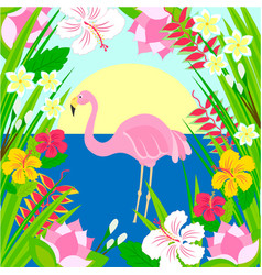Flamingo in sun sea and tropical flowers vector