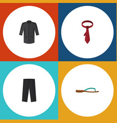 flat icon clothes set of pants beach sandal vector image