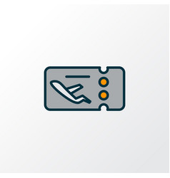 flight ticket icon colored line symbol premium vector image