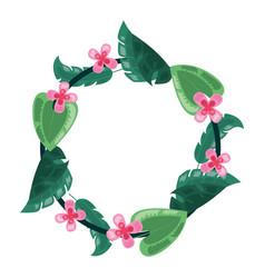 flower leaves foliage wreath decoration vector image