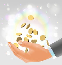 Golden coins falling into male hand vector