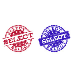 grunge scratched select stamp seals vector image