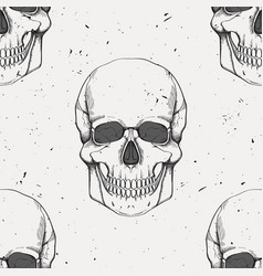 grunge seamless pattern with human skulls vector image