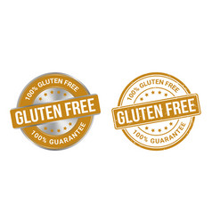 grunge stamp and silver label gluten free vector image