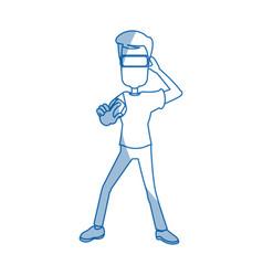 guy character wearing vr helmet standing vector image