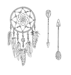 hand drawn ornate white dreamcatchers vector image