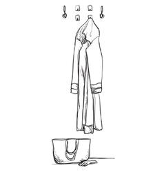 Hand drawn wardrobe sketch with clothes Interior vector