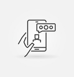 hand holding smart phone line icon video call vector image