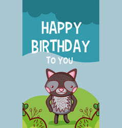 happy birthday to you cat cartoon vector image