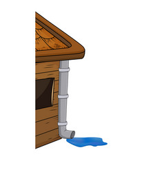 House with gutter rowith rain puddle cartoon vector