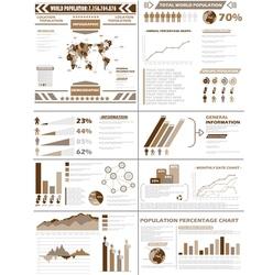 INFOGRAPHIC DEMOGRAPHICS POPULATION BROWN vector