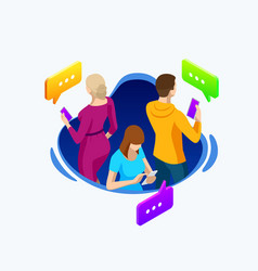 isometric business people group using smart phone vector image