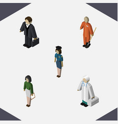 Isometric person set of policewoman pedagogue vector