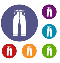 Jeans icons set vector