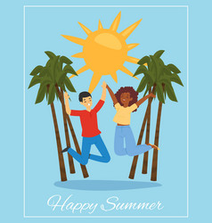 joyful couple lettering happy summer on poster vector image