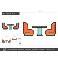 Kitchen furniture line icon vector