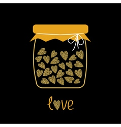 Love bottle jar with hearts inside Gold sparkles vector