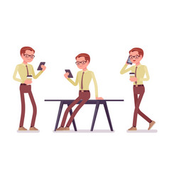 Male clerk with gadgets vector