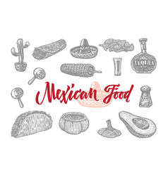 Mexican food engraved set vector