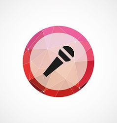 Microphone circle pink triangle background icon vector