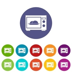 Microwave set icons vector image