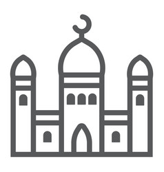 mosque line icon islamic and religion building vector image