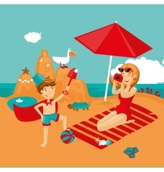 Mother and son on a beach Family vacation vector