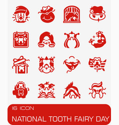 National tooth fairy day icon set vector