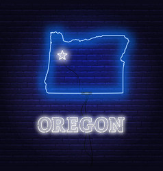 Neon map state oregon on a brick wall vector