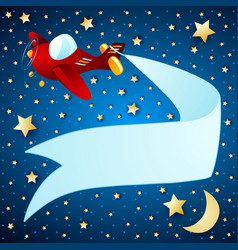 night landscape with airplane and banner vector image