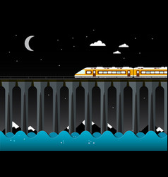 night landscape with train and bridge over the vector image