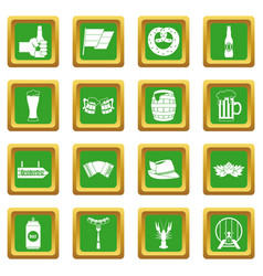 Oktoberfest icons set green vector