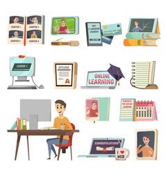 online education orthogonal icons vector image