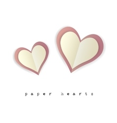 paper hearts for valentines day card on white vector image