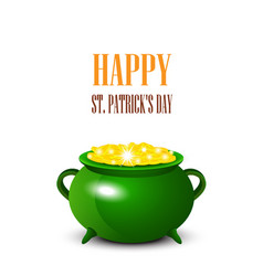 patrick day background with cauldron of gold coins vector image