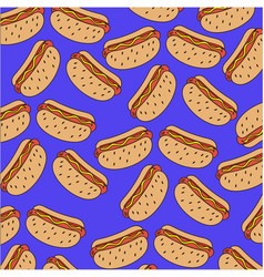 pattern of hot dogs on a blue background vector image