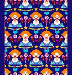 pattern with clowns vector image