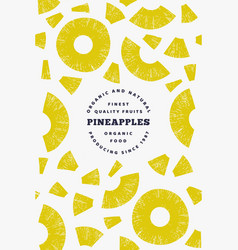 pineapples pieces design template hand drawn vector image