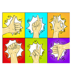 pop art hands gestures vector image
