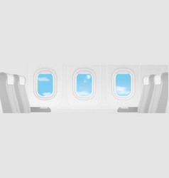 Realistic airplane transport interior ultra wide vector