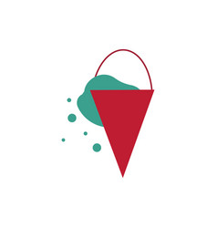 red metal cone bucket with water - fire vector image